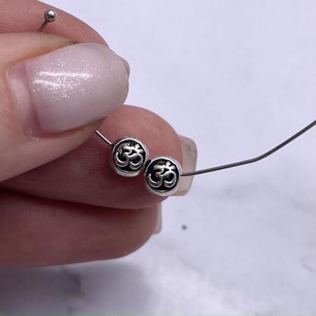 "Бусина ""Ом"", из тайского серебра, размер 6х5 мм"