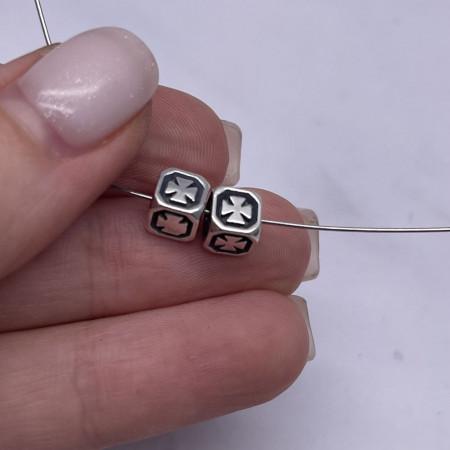 Разделитель - Кубик, из тайского серебра, размер 6Х6 мм