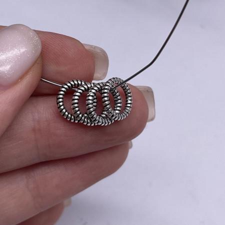 Разделитель - Кольцо (широкое отверстие), из тайского серебра, размер 10х1,5 мм