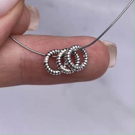 Разделитель - Кольцо (широкое отверстие), из тайского серебра, размер 8х1,5 мм