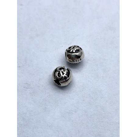Бусина из тайского серебра 925 пробы, Ом, 5х5 мм