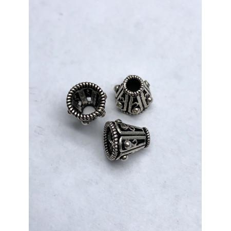 Концевик, Шапочка, из тайского серебра 925 пробы, 9х8 мм