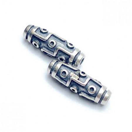 "Бусина из тайского серебра, ""Дзи 9 глаз"", 16х5 мм"