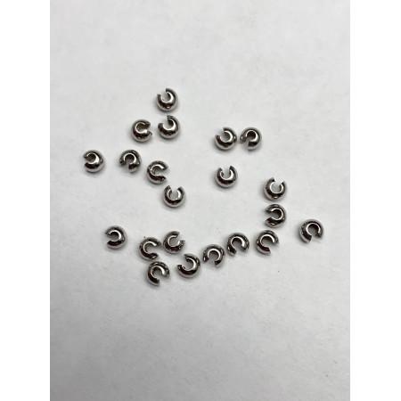 Кримпы, обжимные бусины, серебро, 3 мм, цена за 1 шт