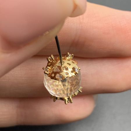 Ювелирная шапочка №7, для бусин, латунь, под золото, 9х2,5 мм, цена за шт