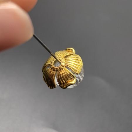 Ювелирная шапочка №27, для бусин, латунь, под золото, 14х4 мм, цена за шт