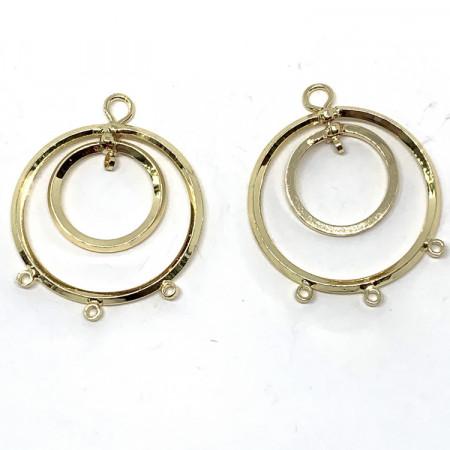 Соединитель-переходник круглый с 3 петельками, под золото, родий/латунь, Milano Lux