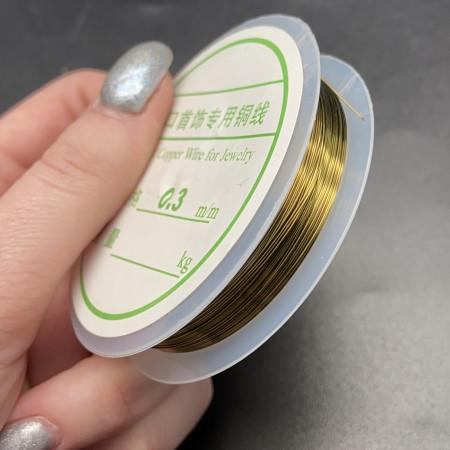 Проволока гибкая, для рукоделия, цвет золото (тёмное), медь с покрытием, толщина 0,3 мм, цена за 1 катушку