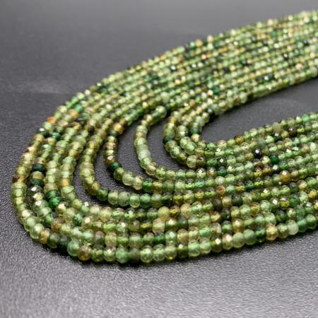 Каменные бусины, Зелёный Турмалин, рондель огранка, качество люкс, 3х2 мм, длина нити 38 см