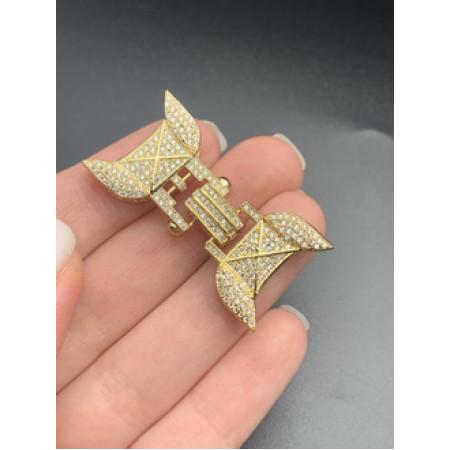 Застёжка №73, замочек на многорядное украшение, под золото, со стразами, 45 мм