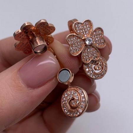 Застёжка №25(роз), Магнитный замочек на многорядное украшение, под золото, со стразами, размер 24 мм